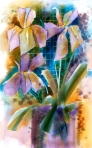 Iris, Pottery, and Trellis, Watercolor in Corel Painter 12