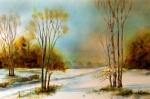 Landscape in Orange, Watercolor Corel Painter 12