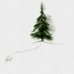 Lonely Conifer, Watercolor Corel Painter 12
