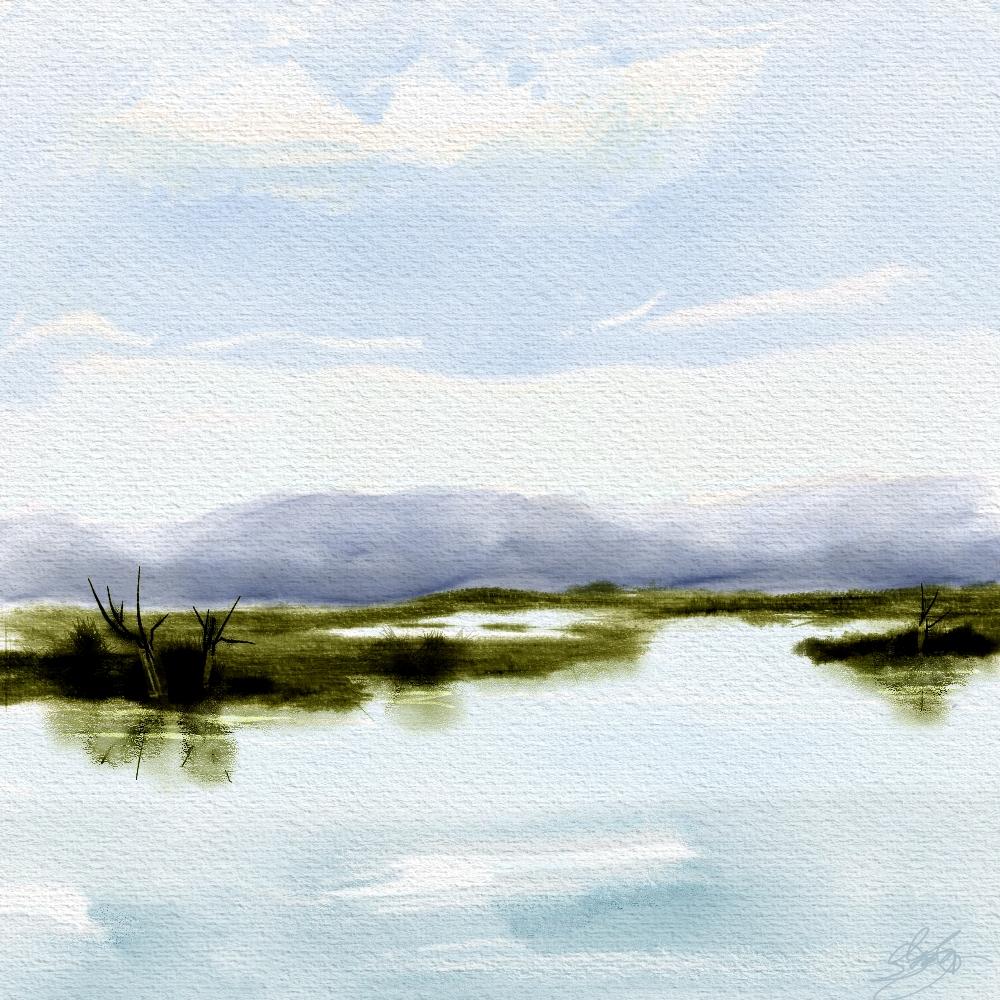Simple landscape final skip allen paints for Easy watercolor portrait