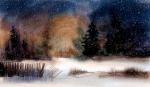Winter Fence, Watercolor Corel Painter 12
