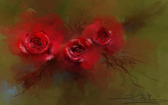 Karen's Red Roses Painted in Corel Painter 12.2