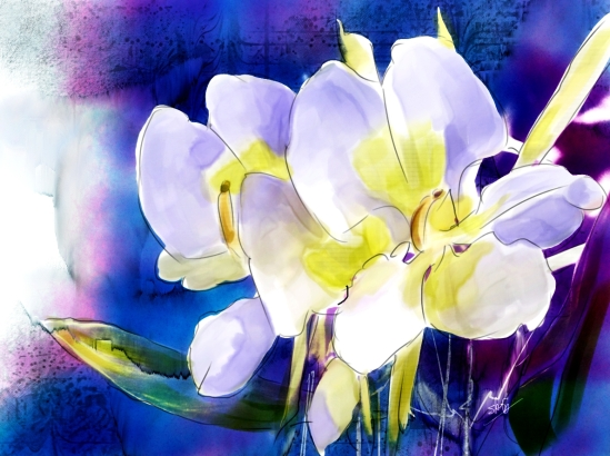Ginger Lily, cloned and painted in Corel Painter X3