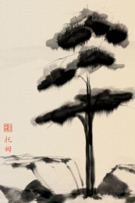 Pine Tree, Corel Painter X3, watercolor