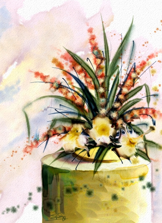 Painting created in Painter X3 using watercolors, specifically my new set called HOS 2013 Florals