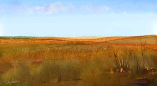 Corel Painter 2015, Wheat Fields with Bright Sky, Particle brushes and Real watercolor brushes.