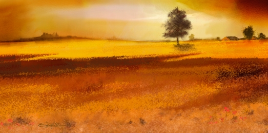 Golden Wheat and Sky, Corel Painter 2015, particle brushes