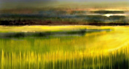Morning Wheat Fields, Corel Painter 2015, Real watercolor with jitter smoothing and particle brushes