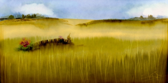 Corel Painter 2015, Simple Wheat Field, Real Watercolor with jitter smoothing