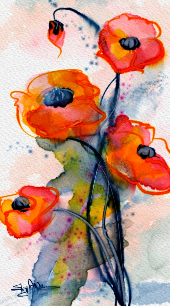Wet Poppies, Corel Painter 2015, Real Watercolor, Watercolor, and Particle Brushes.