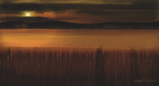 Wheat fields and Mountains, Corel Painter 2015, Real Watercolor with jitter smoothing and particle brushes