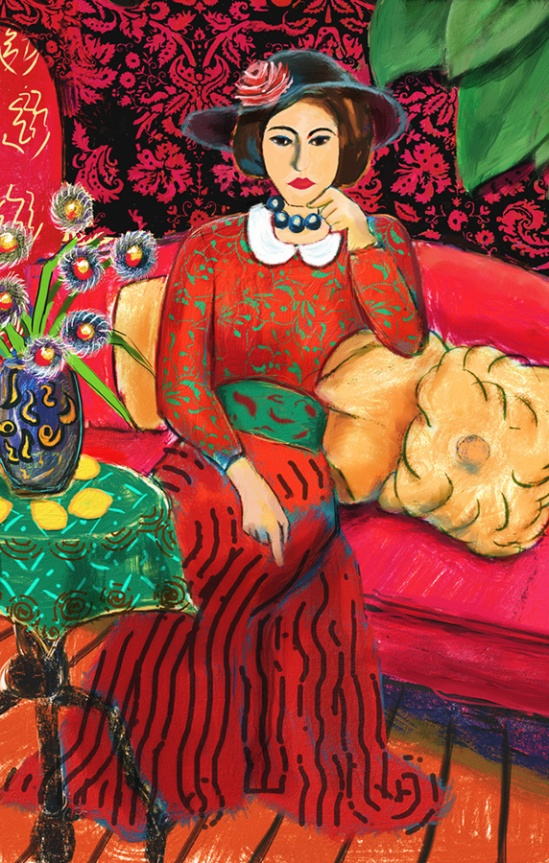 In Red, Matisse Inspired, Winifred Whitfield, Corel Painter X3