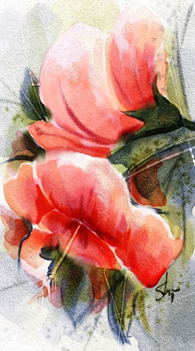Hibiscus, Watercolor done in Corel Painter 2015