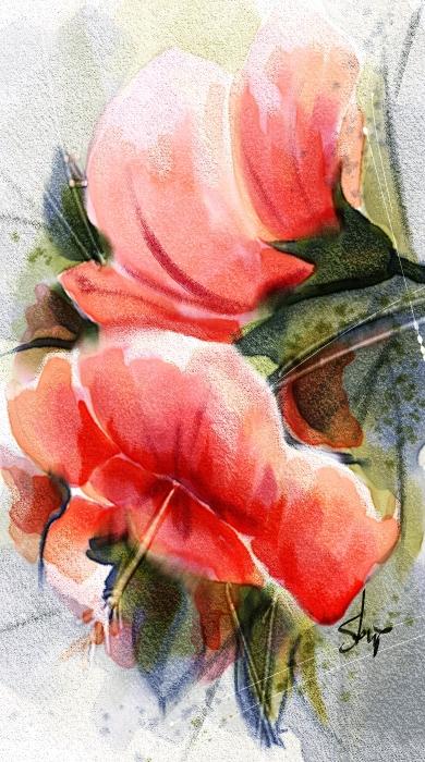 Hibiscus, Watercolor done in Corel Painter 2015