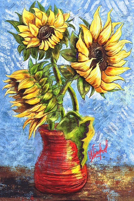 Sunflowers, Winifred Whitfield, Corel Painter 2015