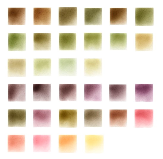 Watercolor mixes.  First three rows are French Ultramarine, Aureolin, and Permanent Carmin.  The last three rows are Phthalo Blue Green, Permanent Alizarin Crimson, and Quinacridone Gold.