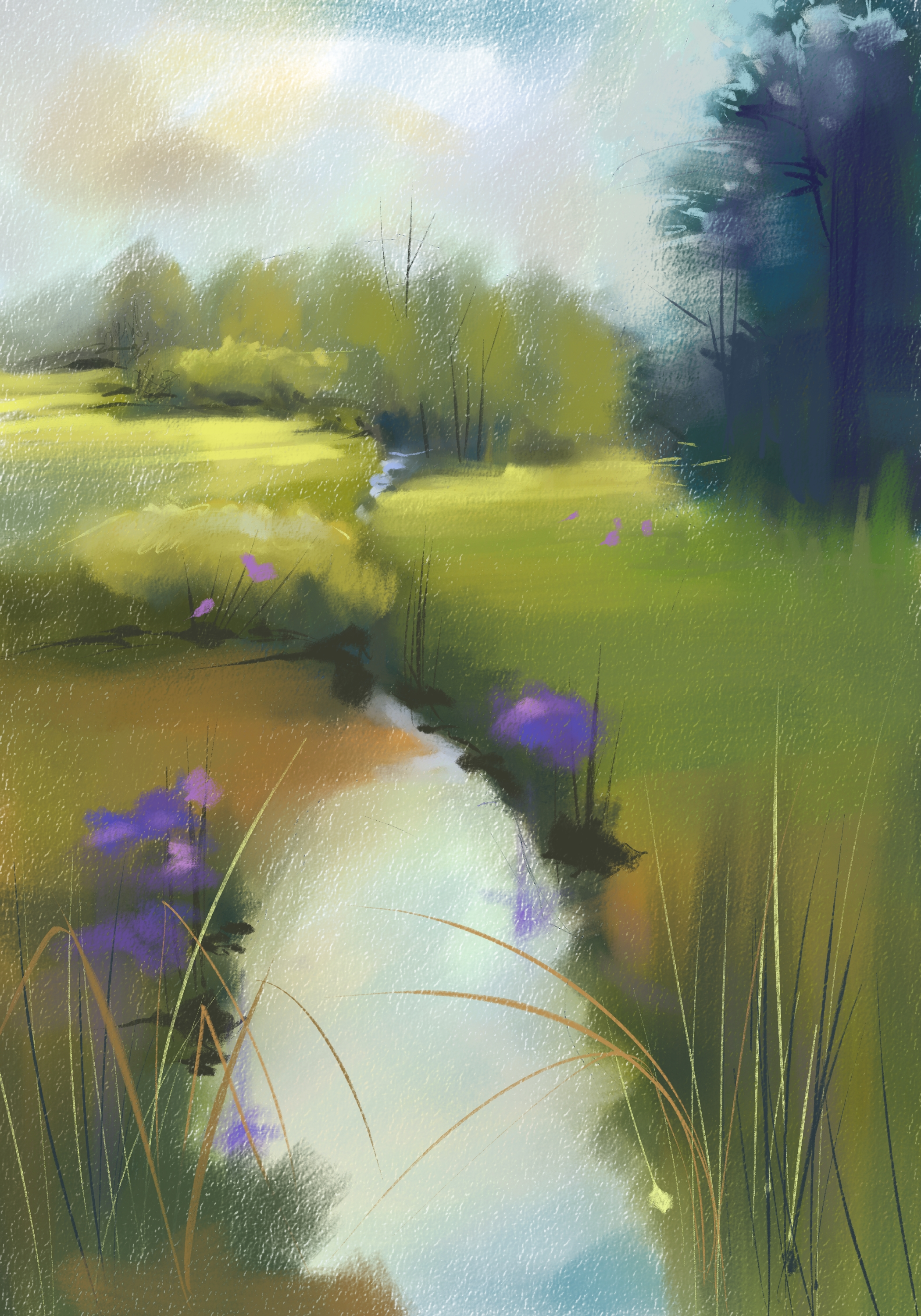 Poole Road Stream, Corel Painter 2016, Custom Pastel Variants, Skip Allen