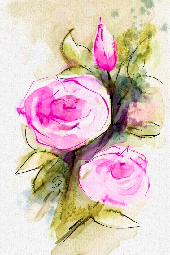 Watercolor Flowers, Corel Painter 2016, Watercolor Live Streaming Demo
